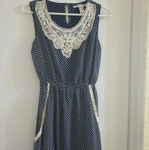 ⭐W/ POCKETS⭐Crochet Front Navy & Polka Dot Dress